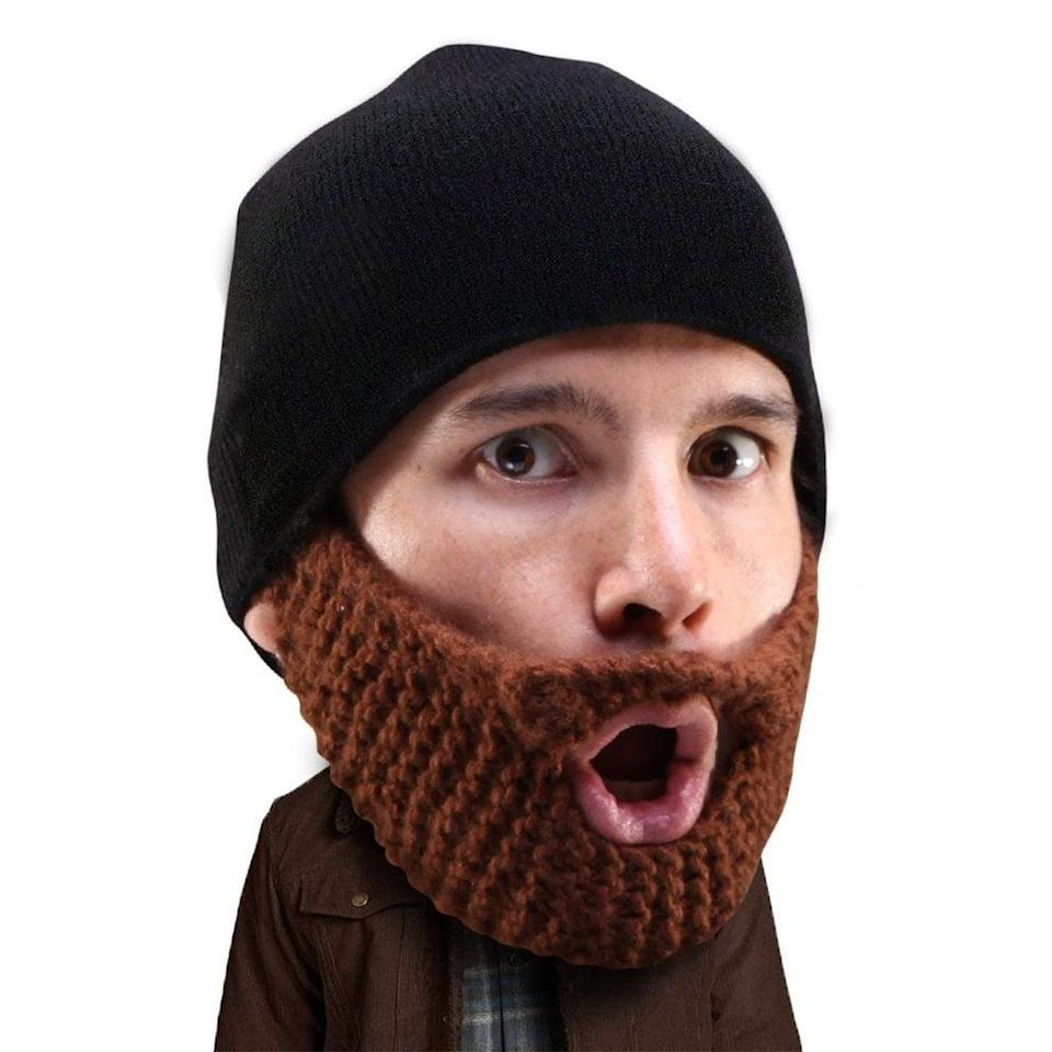 <p>He can stay warm and garner some laughs with this <span>beard beanie</span> ($20). </p>
