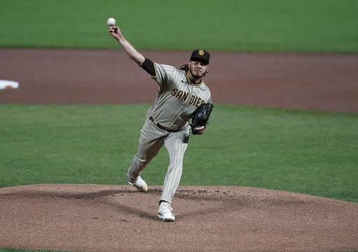 San Diego Padres starting pitcher Dinelson Lamet works against the San Diego Padres during the first inning of the second game of a baseball doubleheader Friday, Sept. 25, 2020, in San Francisco. (AP Photo/Tony Avelar)