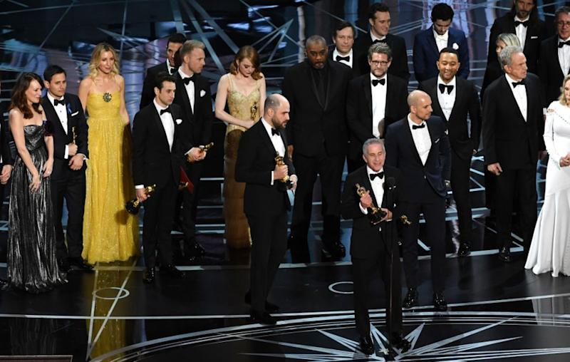 Last year La La Land were announced as the winners, but learned whilst on stage to collect their award that there had been a mistake. Source: Getty