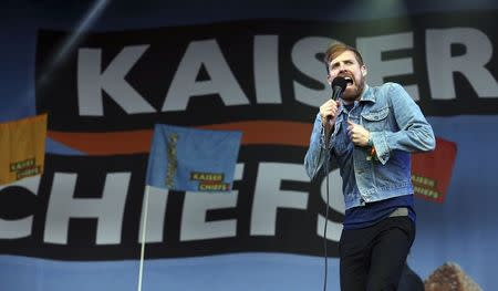 Singer Ricky Wilson of the band Kaiser Chiefs performs on the Other Stage at Worthy Farm in Somerset, on the third day of the Glastonbury music festival