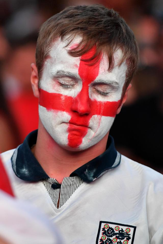 <p>Football fans react as they watch England lose to Croatia at the Auto Trader World Cup semi-final screening in Castlefield Bowl on July 11, 2018 in Manchester, United Kingdom. World Cup fever is building among England fans after reaching the Semi Finals of the Russia 2018 FIFA World Cup (Photo by Anthony Devlin/Getty Images) </p>
