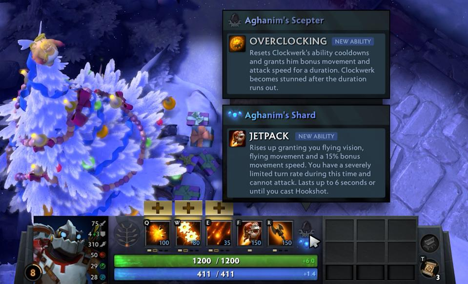 The new section in the Hero UI dedicated to the Aghanim's Scepter and Shards. (Photo: Valve Corporation)