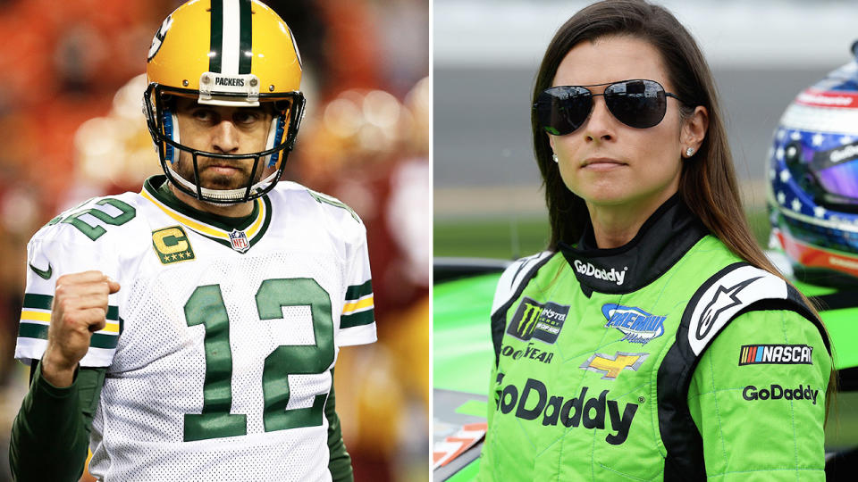 Aaron Rodgers and Danica Patrick, pictured here in the NFL and NASCAR.