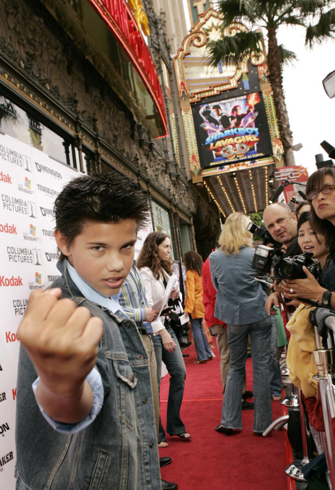 Taylor Lautner attends the premiere of Dimension Films 'The Adventures of Shark Boy and Lava Girl in 3D' at the El Capitan Theatre on June 4, 2005 in Hollywood, California.
