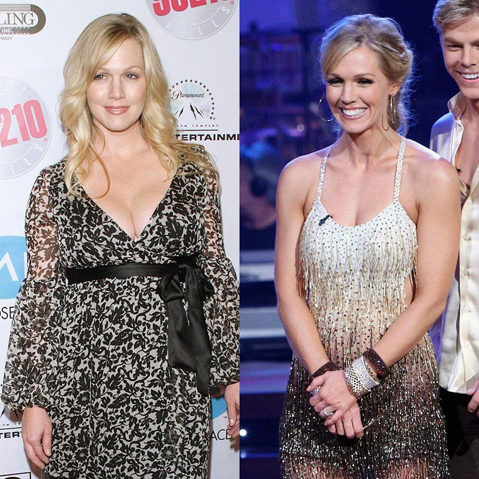 """<p>The former <em>90210</em> star lost 10 pounds on season five, but noted her physical change in inches and dress sizes. """"We rehearse a lot… I've lost inches and dropped a few dress sizes,"""" she told <em><a href=""""https://www.usmagazine.com/celebrity-news/news/jennie-garths-idwtsi-makeover-im-so-comfortable-with-my-body-i-can-go-out-there-half-naked-2007911/"""" rel=""""nofollow noopener"""" target=""""_blank"""" data-ylk=""""slk:US Weekly"""" class=""""link rapid-noclick-resp"""">US Weekly</a></em>. For the mom of three, dancing was more effective than her previous post-baby workout routine. """"I did Pilates three days a week and cardio twice. I hated it, but it helped. Once I started dancing, things changed faster than when I was just working out.""""</p>"""