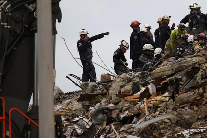 The search and rescue operation has resumed at the wreckage of Champlain Towers South, local officials say (REUTERS)