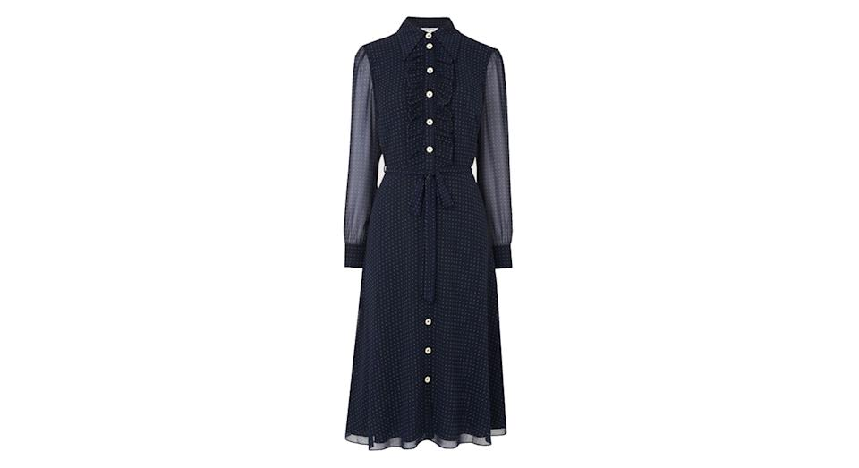 ENSOR NAVY POLKA DOT SHIRT DRESS