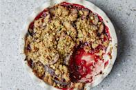 """Name a fruit, and you can crumble it. But plums make particularly good crumbles, especially when paired with cardamom and crunchy pistachios. <a href=""""https://www.epicurious.com/recipes/food/views/plum-cardamom-crumble-with-pistachios?mbid=synd_yahoo_rss"""" rel=""""nofollow noopener"""" target=""""_blank"""" data-ylk=""""slk:See recipe."""" class=""""link rapid-noclick-resp"""">See recipe.</a>"""