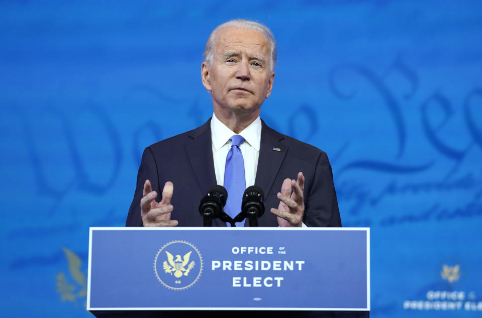 US President-elect Joe Biden speaking about the Electoral College vote certification process in Wilmington, Delaware on Monday (14 December). Presidential electors of the Electoral College gathered in state capitals across the nation that day to cast their ballots for president and vice-president. Their ballots will be formally counted during a joint session of Congress on 6 January. (Photo: Getty Images)