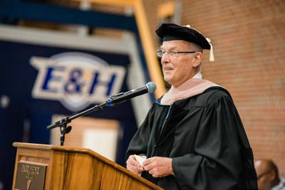 Atlanta, Ga. and Netherlands Businessman John van Vlissingen pledges $5 million to Emory & Henry College in rural Southwest Virginia to support a transformation Career and Professional Development Center to support the region and economic growth. Seen here at May 2019 commencement in Emory, Va. accepting Honorary Doctorate.