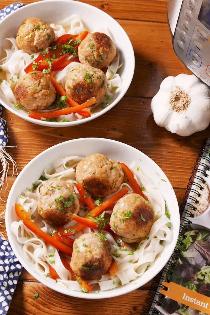 """<p>Light, fresh, and full of flavor.</p><p>Get the recipe from <a href=""""https://www.delish.com/cooking/recipe-ideas/a23318492/instant-pot-thai-turkey-meatballs-with-rice-noodles-recipe/"""" rel=""""nofollow noopener"""" target=""""_blank"""" data-ylk=""""slk:Delish"""" class=""""link rapid-noclick-resp"""">Delish</a>.</p>"""