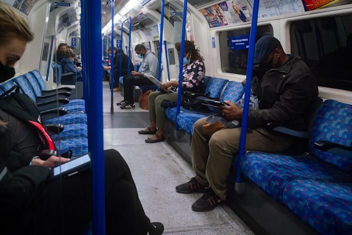 """People on the London Underground on September 25, 2020. <p class=""""copyright"""">Aaron Chown/PA Images via Getty Images</p>"""