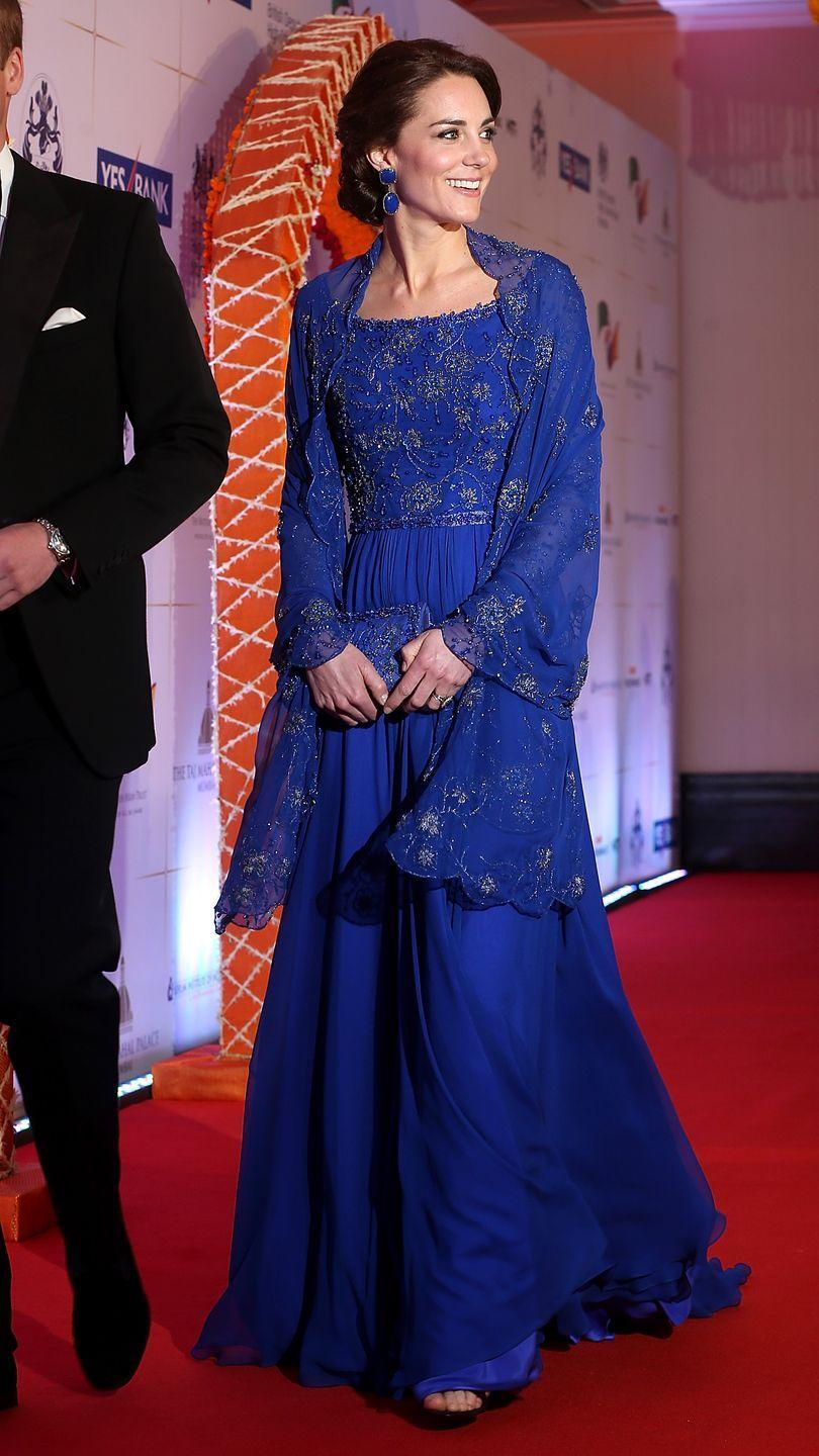 <p>All dressed up for a charity gala with Bollywood's biggest stars, Kate wore a royal blue Jenny Packham gown and shawl that included detailed hand beading done in India.</p>