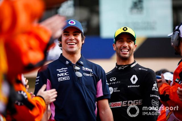 "Lance Stroll, Racing Point, e Daniel Ricciardo, Renault F1 Team <span class=""copyright"">Andrew Hone / Motorsport Images</span>"