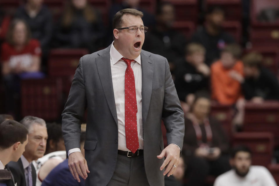 Stanford coach Jerod Haase yells during the first half of the team's NCAA college basketball game against Arizona State in Stanford, Calif., Thursday, Feb. 13, 2020. (AP Photo/Jeff Chiu)