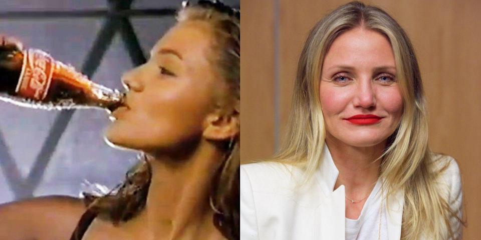 "<p>A young Cameron Diaz starred in a couple of surprisingly artsy and beautiful <a href=""https://www.youtube.com/watch?v=rlYGcugnuhc"" rel=""nofollow noopener"" target=""_blank"" data-ylk=""slk:Coca-Cola commercials"" class=""link rapid-noclick-resp"">Coca-Cola commercials</a> back in the early 90s, as part of Coca-Cola's ""Can't Beat the Real Thing"" campaign. Filmed at the very beginning of Diaz's career, the ads must have put her on the map; she'd soon go on to star opposite Jim Carrey in <em>The Mask</em>.</p>"