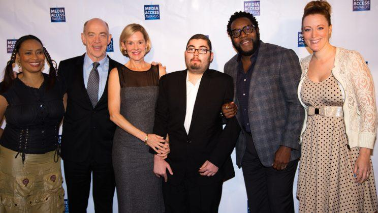 Tamika Lamison, J.K. Simmons, Penelope Ann Miller, Anthony Conti, Chad Coleman, and Adele Rene on the red carpet at Conti's experience at the Academy of Motion Picture Arts & Sciences' Samuel Goldwyn Theatre (Photo: Jenna Hagel/Courtesy of Make a Film Foundation)