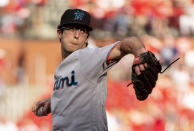 Miami Marlins starting pitcher Zac Gallen throws during the first inning of the team's baseball game against the St. Louis Cardinals, Thursday, June 20, 2019, in St. Louis. (AP Photo/L.G. Patterson)