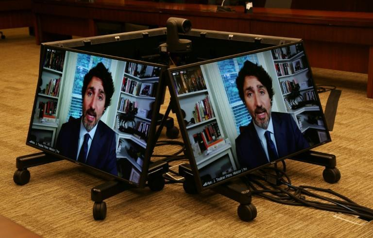 Canada's Prime Minister Justin Trudeau testifies via video conference during a House of Commons Standing Committee on Finance July 30, 2020 in Ottawa, Canada
