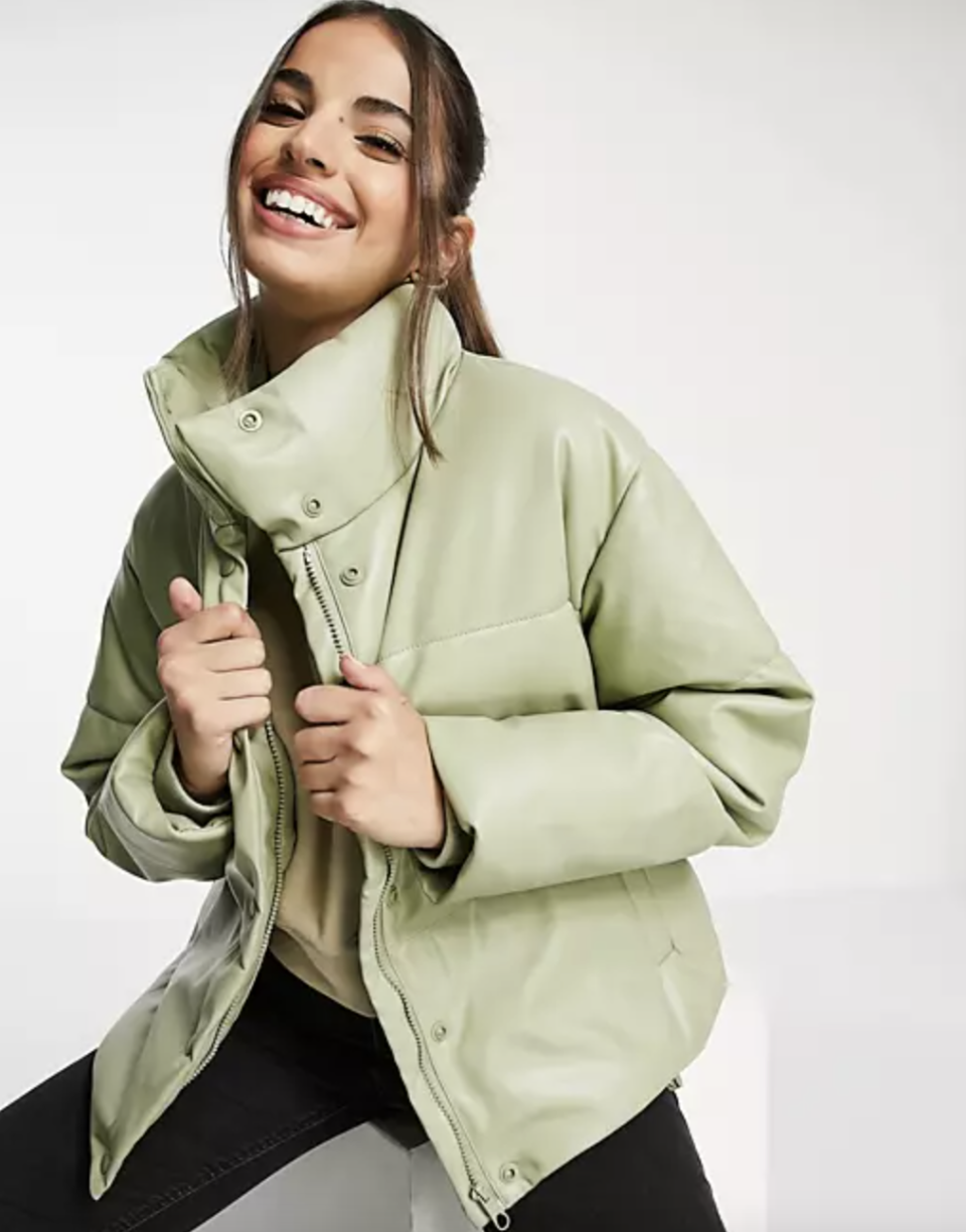 Stradivarius Faux Leather Padded Puffer Jacket in light green leather
