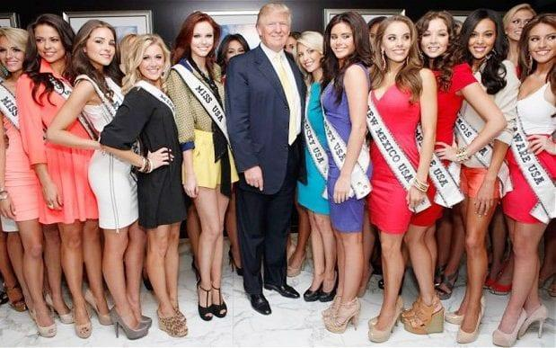 Donald Trump, with Miss Universe entrants, has been widely accused of sexism - Getty
