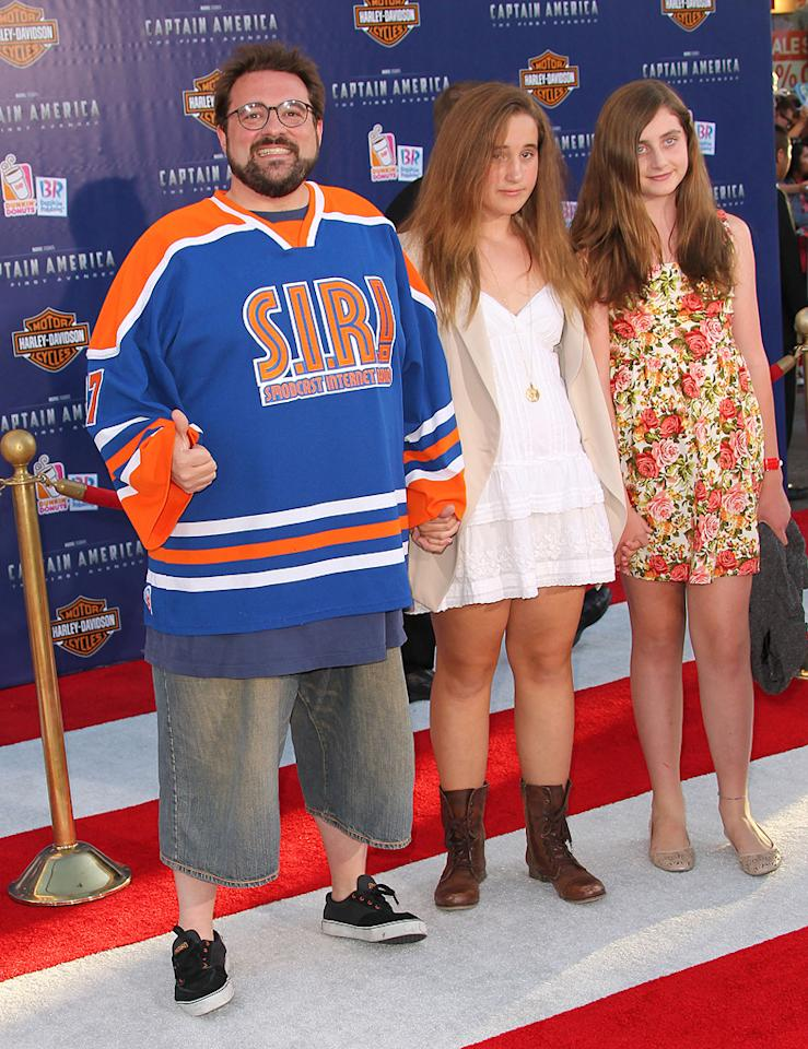 "<a href=""http://movies.yahoo.com/movie/contributor/1800020930"">Kevin Smith</a> at the Los Angeles premiere of <a href=""http://movies.yahoo.com/movie/1810026349/info"">Captain America: The First Avenger</a> on July 19, 2011."