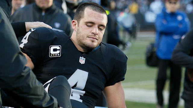 The Raiders quarterback suffered a broken fibula in his right leg during the team's Week 16 game and promptly underwent surgery.