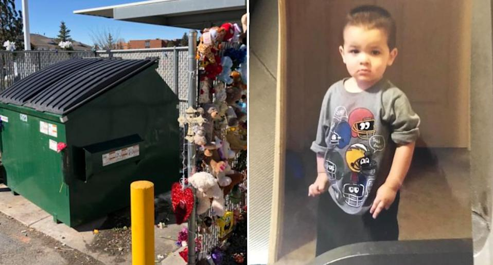 Pictured left is the dumpster where Athian, seen right, was found dead.