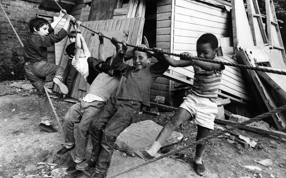 Children playing at an adventure playground in Peckham Road, Southwark. July 1967 P012095 (Photo by WATFORD/Mirrorpix/Mirrorpix via Getty Images)  - Getty