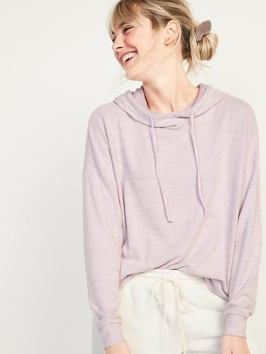 <p>This lightweight <span>Old Navy Soft-Brushed Plush-Knit Pullover Lounge Hoodie</span> ($25, originally $35) would look cute with actual pants or leggings when leaving the house, but we'd definitely pair it with the matching <span>Old Navy High-Waisted Soft-Brushed Plush-Knit Jogger Lounge Pants</span> ($35, originally $40) while cozying on the couch.</p>