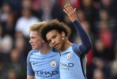 Britain Soccer Football - Southampton v Manchester City - Premier League - St Mary's Stadium - 15/4/17 Manchester City's Leroy Sane celebrates scoring their second goal with Kevin De Bruyne Action Images via Reuters / Tony O'Brien Livepic