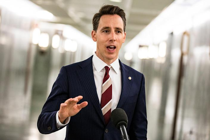 <p>Josh Hawley blocks Biden cabinet appointment</p> (Photo by Samuel Corum/Getty Images)