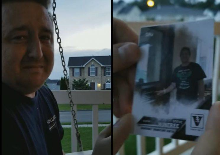 Steve Winfree shows off the baseball card that delivered a life-changing message. (Steve and Heather Winfree)