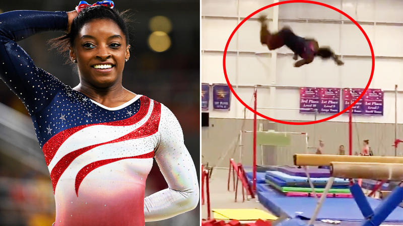 Simone Biles, pictured here in the gym and at the Olympics.