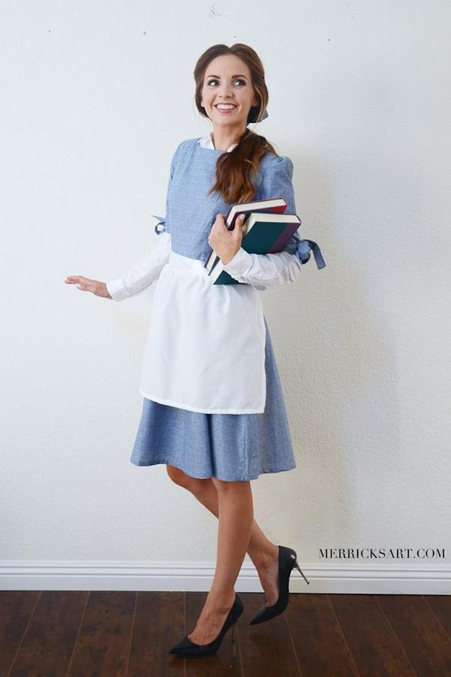 "<p>You're just one blue dress, an apron, and a side ponytail away from telling <em></em>everyone<em> </em>you know that there <em>has</em> to be more than this provincial life.<em></em><br><em><br></em><strong>Get the tutorial at <a rel=""nofollow"" href=""https://www.merricksart.com/diy-halloween-3-easy-disney-princess/"">Merrick's Art</a>.</strong></p>"