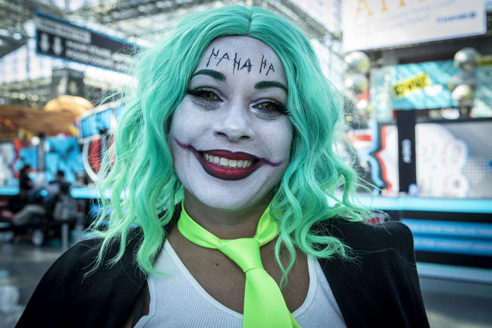 Rebecca from North Carolina comes dressed up as a female Joker to the New York Comic Con 2019 at the Jacob Javits Center on Oct. 5, 2019 in New York City. (Photo: Gordon Donovan/Yahoo News)