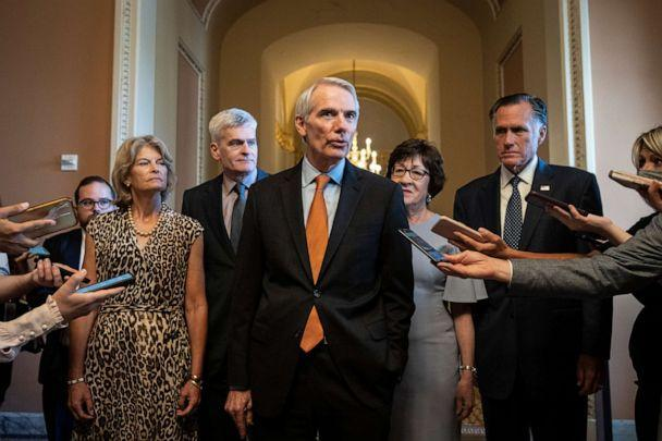 PHOTO: WASHINGTON, DC - JULY 28: The lead GOP negotiators on the bipartisan infrastructure legislation told reporters that they now have an agreement with Senate Democrats on the major issues of the bill.  (Drew Angerer/Getty Images)