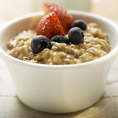 """<p>• Oatmeal (about ¾ cup)</p> <p>• Banana</p> <p>• Orange Juice</p> <p>• Coffee</p> <p>This square meal will keep you feeling full and alert until your lunch break, yet it barely puts a dent in your saturated fat quota and contains 0 grams of dietary cholesterol. As an added bonus, oatmeal, bananas, and OJ all contain soluble fiber, which has been shown to lower LDL.</p> <p>For a tasty oatmeal recipe made with apple cider and cranberries, try our <a href=""""https://www.health.com/health/recipe/0,,10000001036231,00.html"""">De-lish Oatmeal</a>.</p> <p><strong>RELATED: <a href=""""https://www.health.com/weight-loss/high-protein-breakfast-weight-loss"""">5 High-Protein Breakfasts to Jump-Start Your Weight Loss</a></strong></p>"""