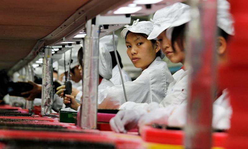 A Foxconn electronics production line in China