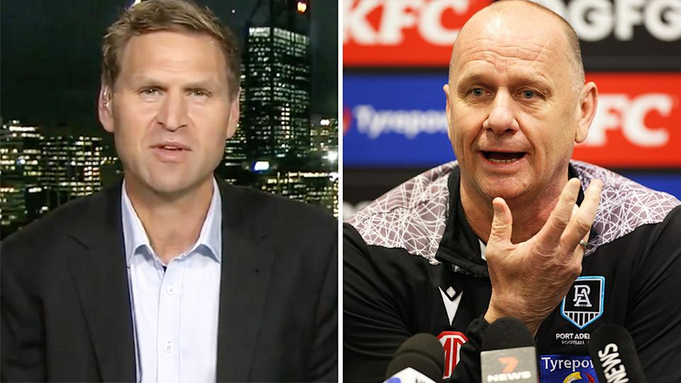 Kane Cornes is standing by his criticism of his former club Port Adelaide and coach Ken Hinkley, after the Power were reportedly unhappy about the premiership star's comments over their preliminary final loss. Pictures: Channel 9/Getty Images