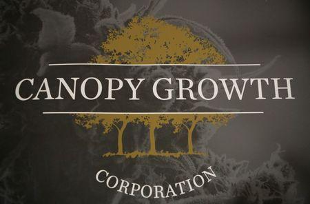 FILE PHOTO: A sign featuring Canopy Growth Corporation's logo is pictured at their facility in Smiths Falls