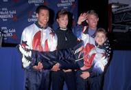 <p>Kerri Strug famously nailed the landing during her second vault at the 1996 Olympic games on one foot, because of an injury that occurred during her first vault. There she was at the World Gold Gymnastics press tour conference, being held by her team in the satin USA coordinates, which were made by Champion.</p>