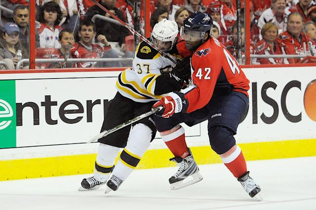 WASHINGTON, DC - APRIL 19: Joel Ward #42 of the Washington Capitals and Patrice Bergeron #37 of the Boston Bruins battle during the third peroid of Game Four of the Eastern Conference Quarterfinals during the 2012 NHL Stanley Cup Playoffs at Verizon Center on April 19, 2012 in Washington, DC. (Photo by Patrick McDermott/Getty Images)