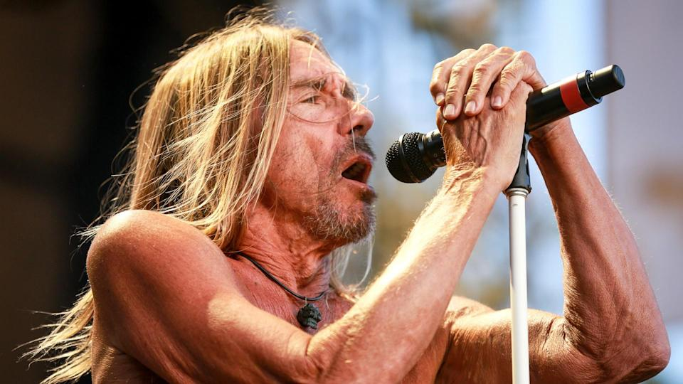 LOS ANGELES, CA - JULY 23:  Iggy Pop performs onstage on day 3 of FYF Fest 2017 at Exposition Park on July 23, 2017 in Los Angeles, California.