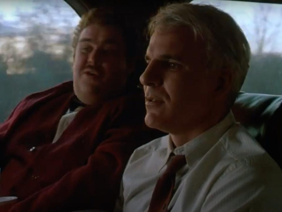 """Steve Martin and John Candy in """"Planes, Trains, and Automobiles"""" in 1987."""