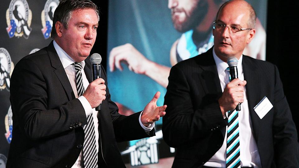 Eddie McGuire and David Koch, pictured here at the MCG in 2014.