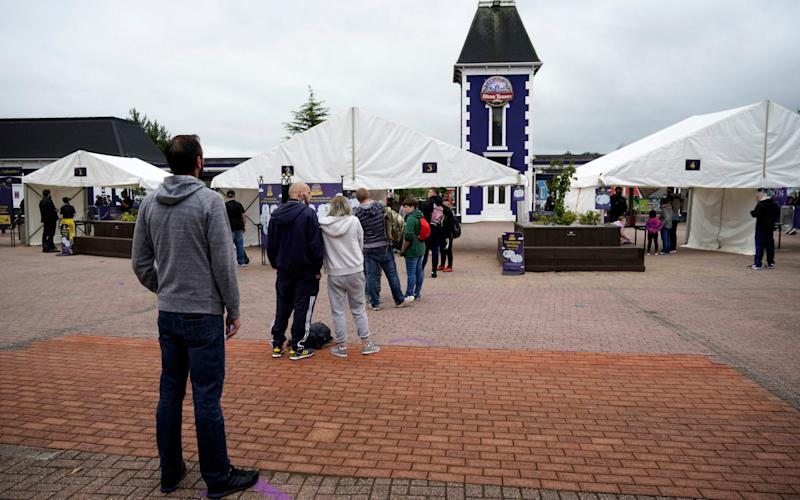 People queue for Alton Towers on Saturday