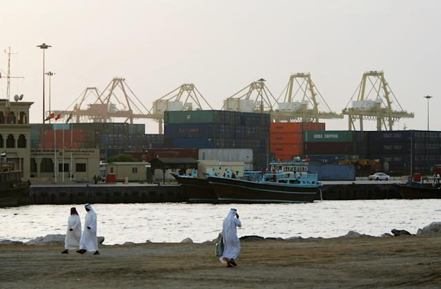 DUBAI, UNITED ARAB EMIRATES - APRIL 21: A general view of the Port Rashid container terminal on April 21 2006 in Dubai, United Arab Emirates. (Photo by Bryn Lennon/Getty Images)