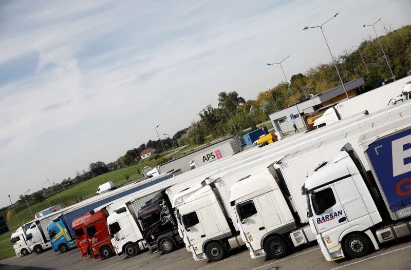 Trucks park at the highway A2 parking near Warsaw
