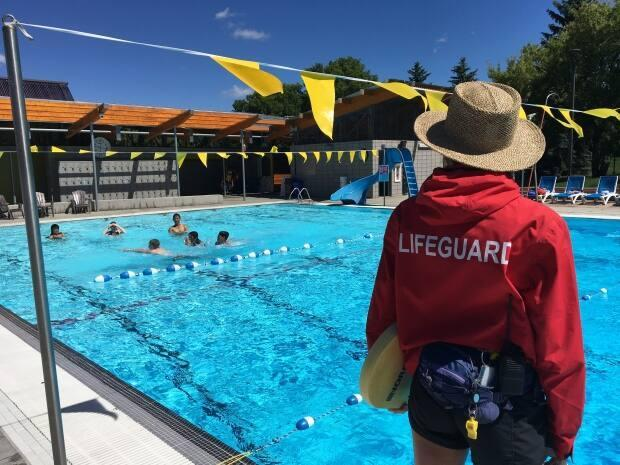Only three city-run outdoor pools are open in Edmonton by booking only. (Lydia Neufeld/CBC - image credit)